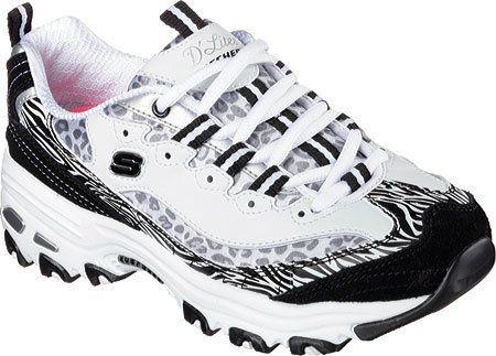 Skechers Sport Women's D'Lites Jungle Adventure Fashion Sneaker, White/Black, 5.5 M US - http://all-shoes-online.com/skechers-3/5-5-b-m-us-skechers-sport-womens-dlites-life-saver-8-m