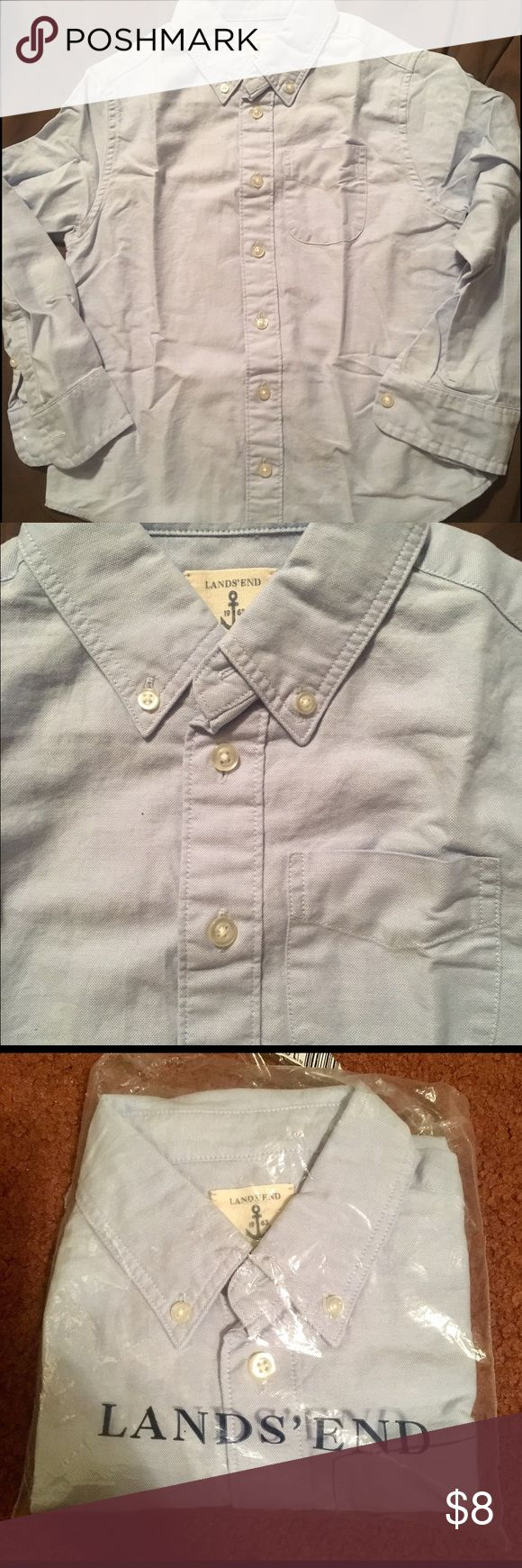 Lands Ends Kids Boys Blue Oxford Shirt M 5-6 New Lands Ends Kids Blue Oxford Button down Shirt. Pocket on the front. Size medium 5-6. Brand new. Lands' End Shirts & Tops Button Down Shirts
