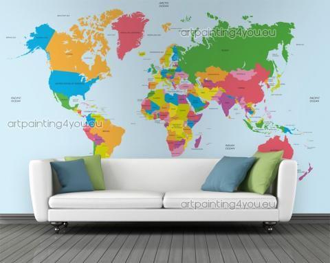 Papel de Parede Murais de Parede Viagens, Telas Decorativas & Posters Mapa Mundo