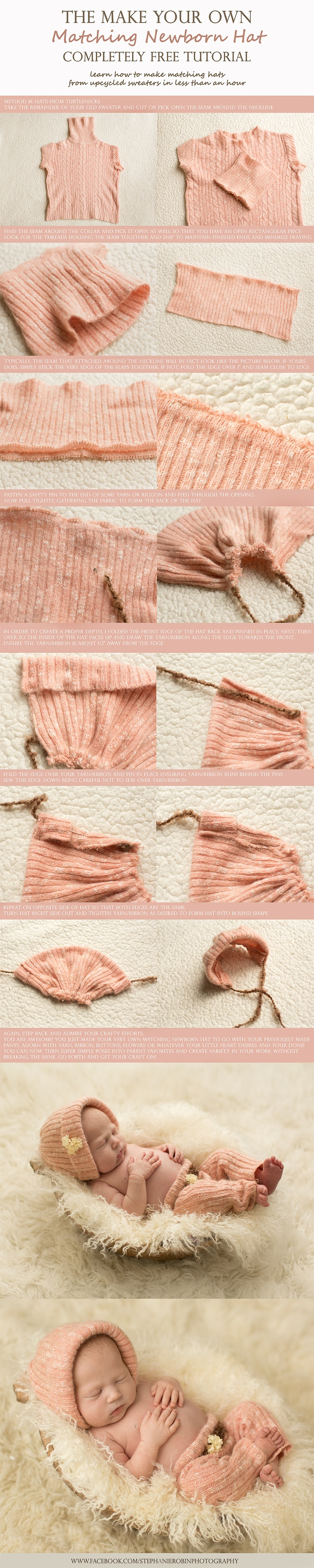 """""""newborn hat tutorial. There are many different ways to make matching hats. This one just seemed easiest from this particular sweater."""" via @Stephanie Robin Photography - http://www.stephanierobin.ca/blog/"""