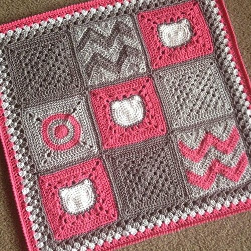 """babylovebrand: Modern Nine-Patch Blanket - A mix of updated squares featuring a kitten square (Tutorial by Amber Reneé) 28x28"""" - Perfect for nap time! Hobby Lobby """"I Love this Yarn"""": Tropical Pink, Light Grey, Greybeard, Soft White. Pattern coming soon! babylovebrand.net #etsy #crochet #patchwork : cajunmama.tumblr"""