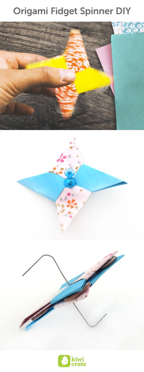 Origami Fidget Spinner DIY. These twirling toys are all the rage, so we decided to put our own little spin on them. Using just two sheets of colorful origami paper, glue, a paper clip, and four coins, learn how to create your own personal spinner to both amuse and amaze. easy, projects, spinning, fun, wire, paper, ideas, birthday, homemade