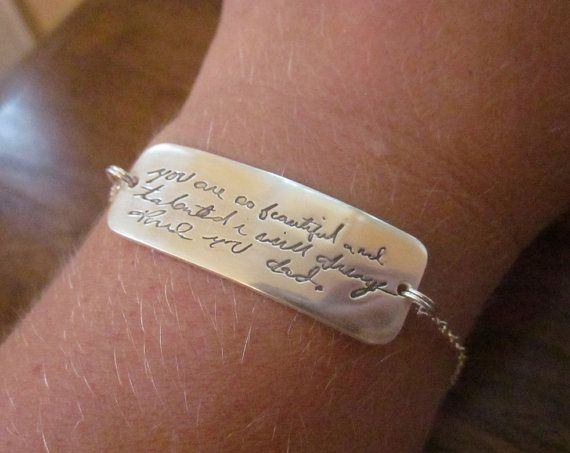 RESERVED Custom Handwriting Bracelet  Made by CustomSilverPendants, $79.00