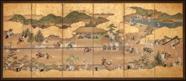 Horse archery (yabusame) at Upper Kamo Shrine depicting courtiers and folks in a viewing stand and a torii-gateway to the shrine precincts. c 1700