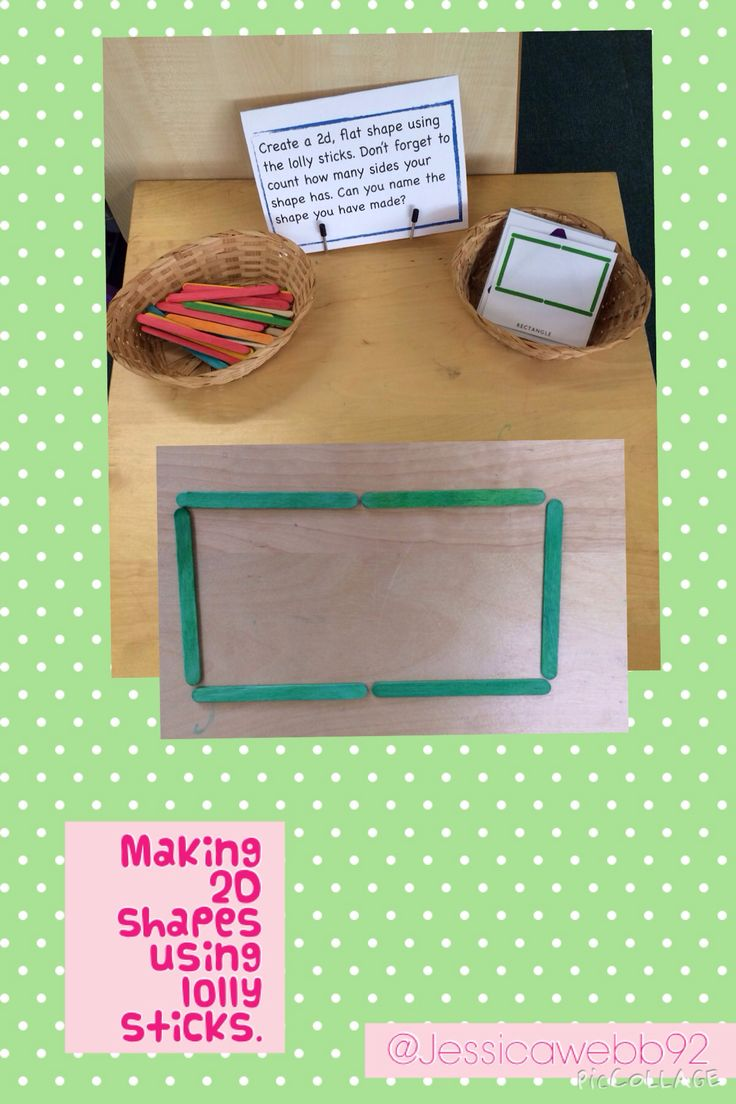 Making shapes using lolly sticks