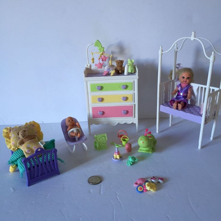 Barbie Baby Bedroom Set Furniture Including Toys Accessories Baby and Kelly Doll  | eBay