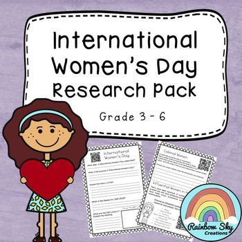 International Women's Day Research Pack - The aim of these resources is to provide students with a better understanding of the purpose of IWD. Students apply their reading, comprehension and research skills to learn about influential women in history. March 8 each year is International Women's Day. ~Rainbow Sky Creations ~