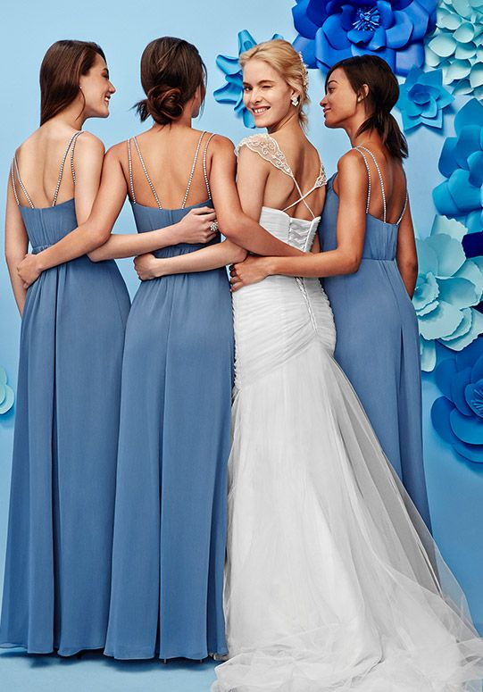 Elegant For a creative twist turn your whole bridal party into a good luck charm with blue bridesmaid dresses