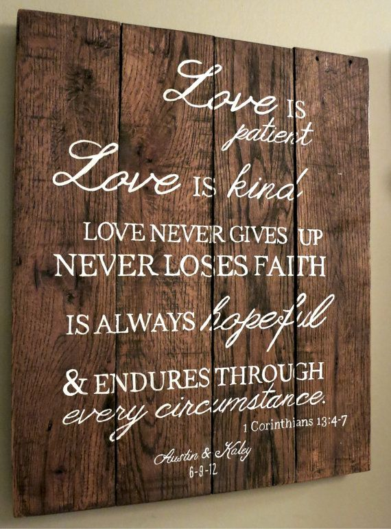Wedding Anniversary Pallet Sign - 1 Corinthians 13 Typography