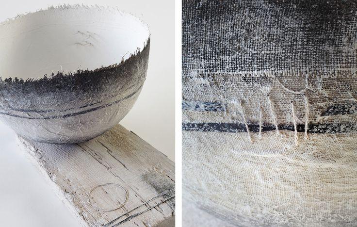 Gizella K Warburton   ritual form iv textile, mixed media, stitch, weathered wood 31 x 33 x 16cm high