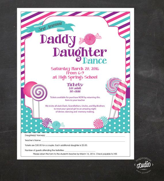 Candy Glam Daddy-Daughter Dance   Event Custom Printable