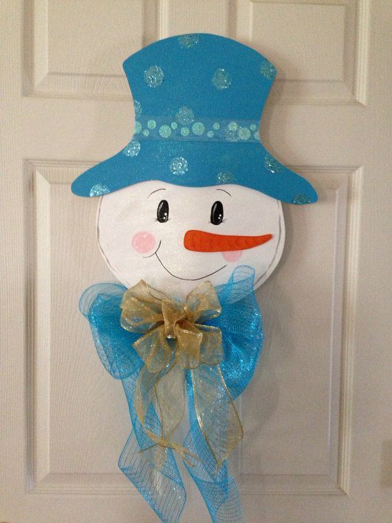 CHRISTMAS DOOR Hanger SNOWMAN/ Winter  Wood  Home Decoration on Etsy, $35.00