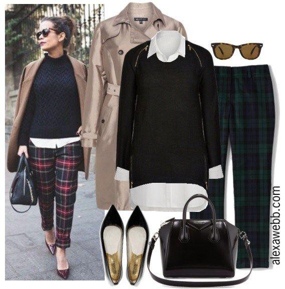 Straight Size to Plus Size Plaid Pants Outfit - Plus Size Fashion for Women - Alexa Webb - alexawebb.com