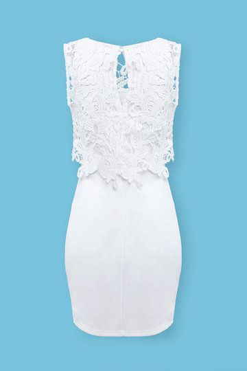 White Bodycon Dress with Lace Details from mobile - US$25.95 -YOINS