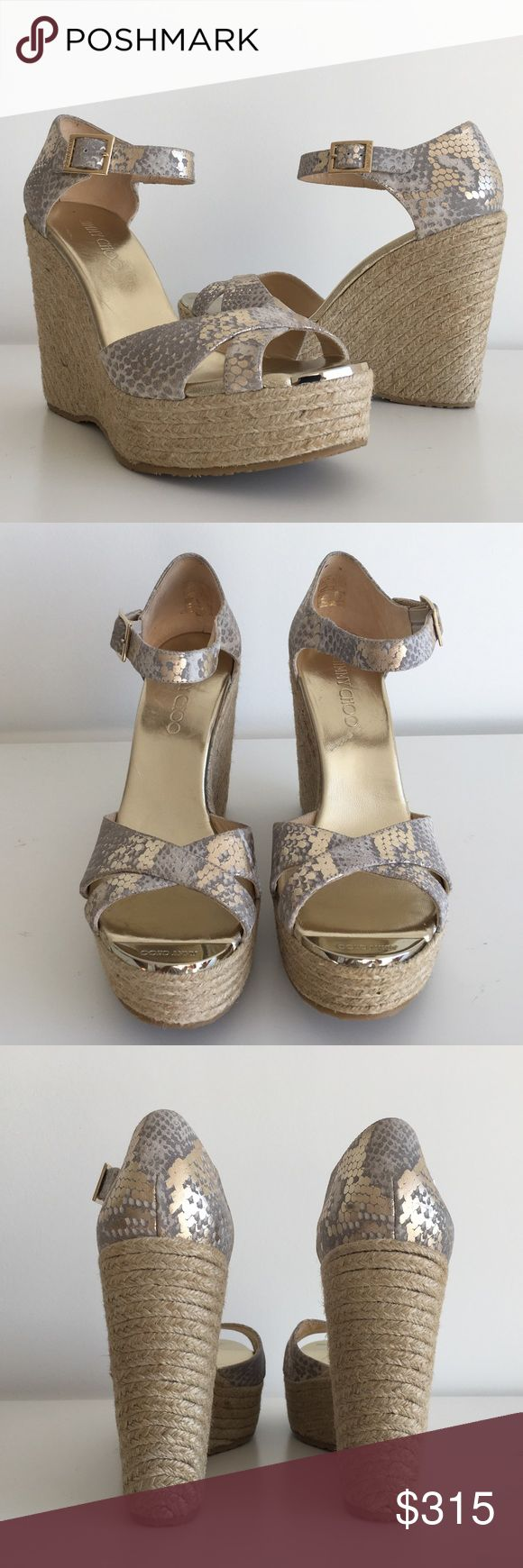 "JIMMY CHOO PALLIS WEDGE METALLIC ESPADRILLES SZ 41 JIMMY CHOO PALLIS WEDGE METALLIC ESPADRILLES, SIZE 41, WEDGE 5"", PLATFORM 1.5"", ADJUSTABLE STRAP WITH BUCKLE CLOSURE, PEEP TOE, METALLIC SNAKE PRINT, SYNTHETIC SOLE, BRAND NEW WITH BOX AND DUST BAG Jimmy Choo Shoes Platforms"