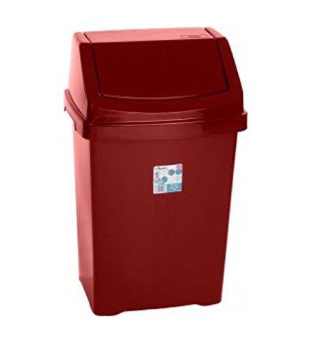 Wham High Grade Plastic Chilli Red Flip Top Waste Rubbish Kitchen Bin Dustbin (large - 25 Litre)
