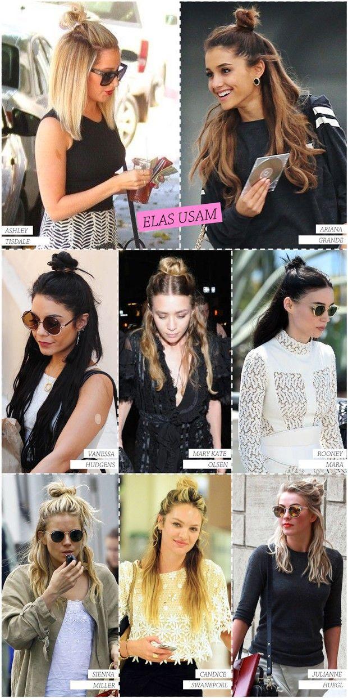 Tendência de beleza, o meio coque é perfeito pros dias que o seu cabelo não fica como você quer, os famosos bad hair days. Até as celebs estão usando. Confira o penteado em Ariana Grande, Mary Kate Olsen e Sienna Miller, entre outras.