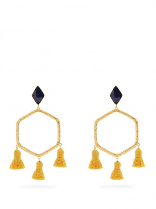 Marte+Frisnes+Cooper+Gold+Plated+Tassel+Earrings+|+Jewelry+and+Accessory