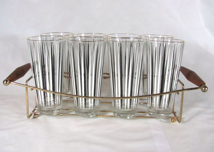 Vintage MID CENTURY MODERN Black White LINES Striped 8 Drinking Glasses  Carrier · Drinking GlassIce BucketsMid ... Amazing Ideas