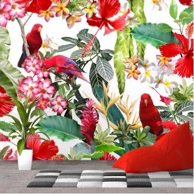Fototapet Papagali cu Flori Exotice bfl18