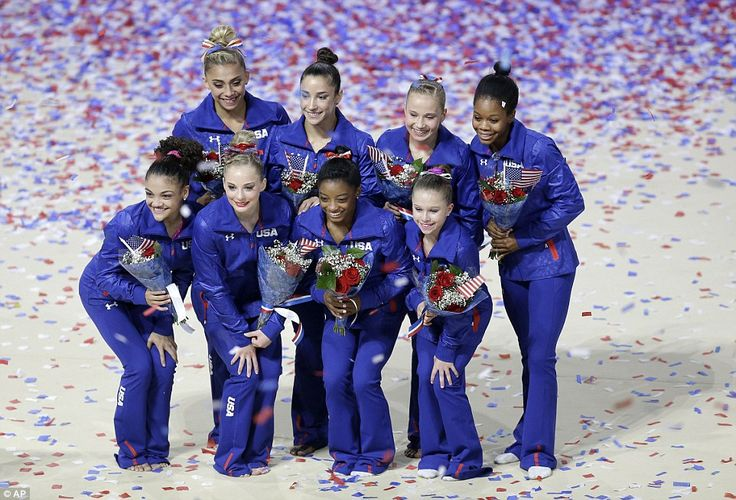 Heading to Rio: The 2016 US Olympic women's gymnastics team (clockwise from top left: Ashton Locklear (alternate), Aly Raisman, Madison Kocian, Gabrielle Douglas, Ragan Smith (alternate), Simone Biles, MyKayla Skinner (alternate) and Lauren Hernandez)