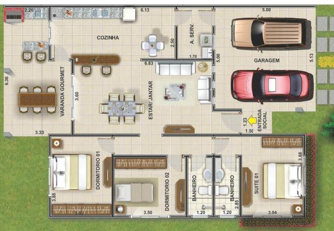 0013 Plano de casa de 148M2 y 3 Dormitorios.Como pueden ver, el plano de esta casa, tiene 3 dormitorios, dos casi iguales que pueden ser los principales y uno en medio que se puede disponer para visitas, por ejemplo. Ademas cuenta con la proyección de un estacionamiento para dos automoviles perfectamente, 2 cuarto de baños, uno para la habitación principal y otro compartido para el resto de la vivienda, un amplio living y comedor, cocina en conjunto y una terraza amplia trasera, miren el…