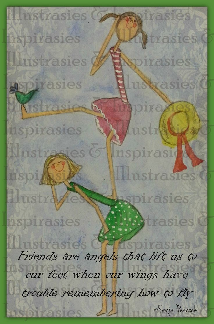Friends are angels that lifts us to our feet via Sun Art Illustrations