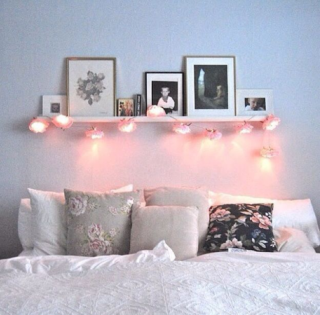Liking the shelf with fairy lights above bed:
