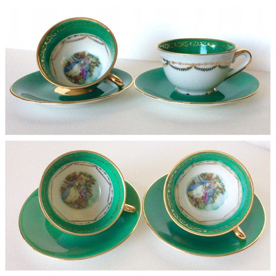 Limoges cup. Limoges pair of cups and by SouthofFranceFinds