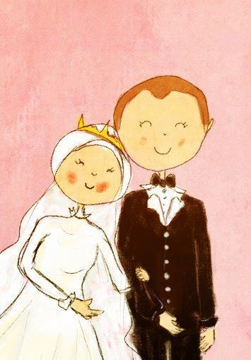 Cute Cartoon Muslim Couple. This would be great for a save the date!