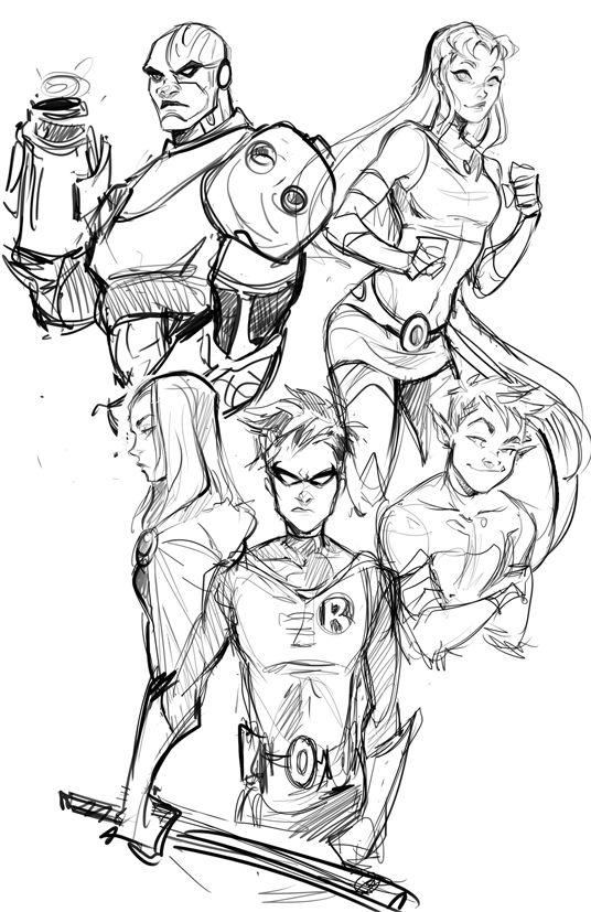 Teen Titans. Starfire. Cyborg. Beast Boy. Robin. Raven.