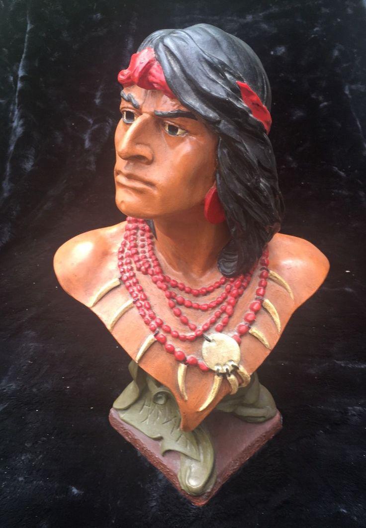 Vintage Hiawatha Painted Cigar Store Indian Bust