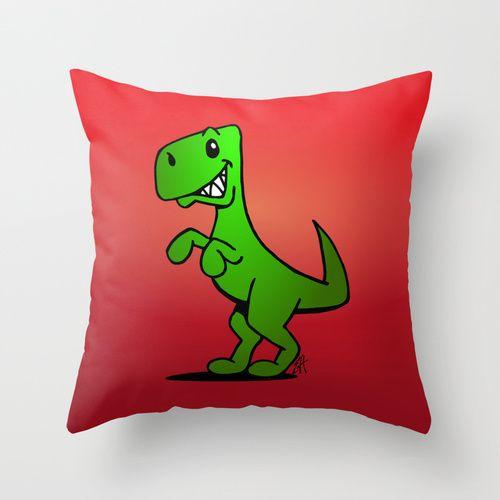 T-Rex - Dinosaur Throw Pillow #Cardvibes #Tekenaartje #Society6