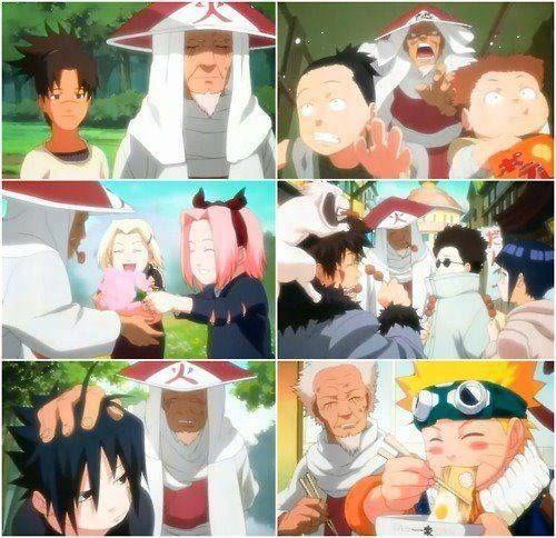 The 3rd Hokage with all the young shinobi.