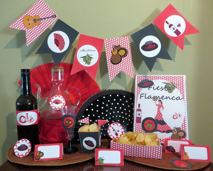 Printable party kit decoration party candy bar printable kit party decoration flamenco printable spanish decoration spanish party by SucreEventos on Etsy https://www.etsy.com/listing/202030832/printable-party-kit-decoration-party
