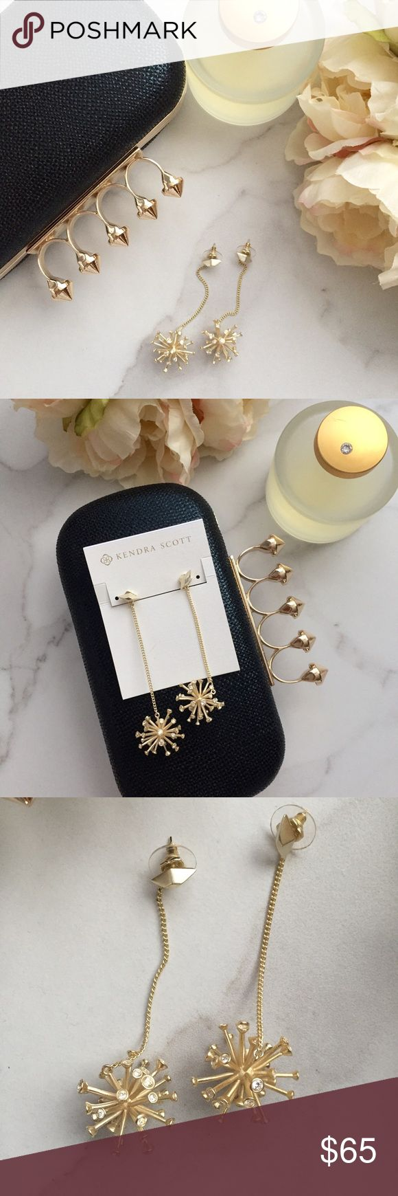 🆕 Kendra Scott Tricia drop earrings Beautiful statement drop earrings by Kendra Scott have a slender gold cable chain with a starburst bauble accented with sparkling crystals.  Brand new and never worn. Will come with dust bag! Last picture for modeling purposes only (GOLD in 1st 4 pics is actual item for sale)! Kendra Scott Jewelry Earrings