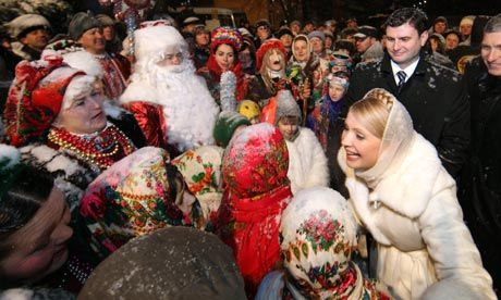 Ukraine, In 2010 Then Prime Minister Yulia Tymoshenko greets people during the Orthodox Christmas celebrations. Photograph: Aleksandr Prokopenko/pool/EPA    She is currently spending 2012 Christmas as a Political Prisoner    She has a court pending before the European Court of Human Rights  http://en.rian.ru/world/20111220/170387983.html