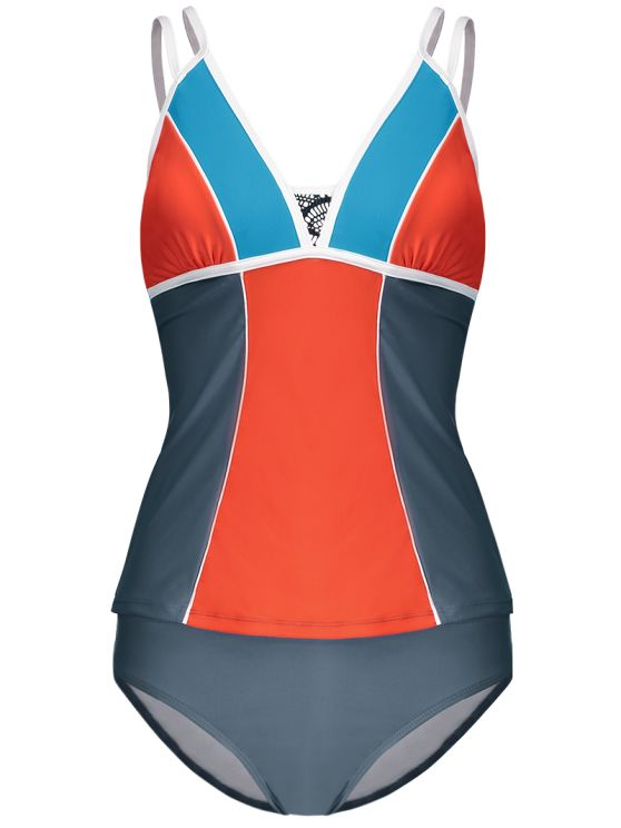 Color Block Tankini Swimsuit For Juniors - GRAY + ORANGE M