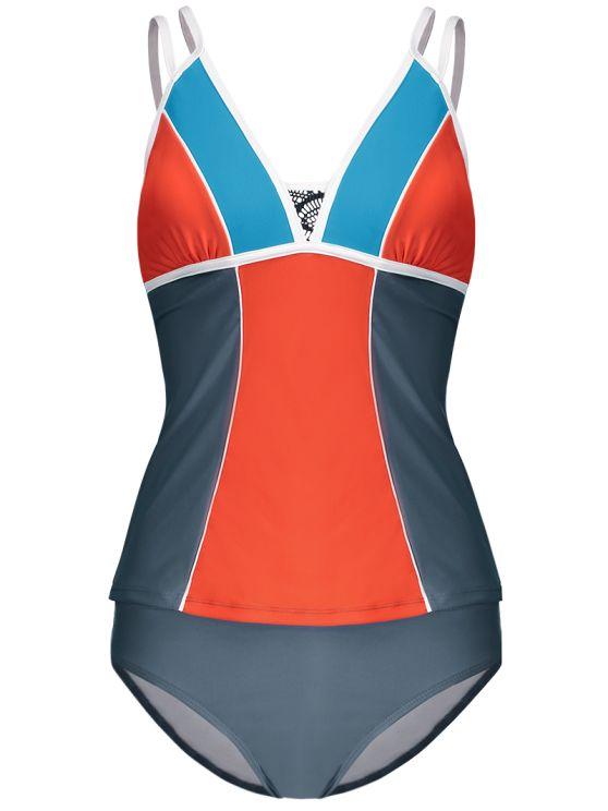 Color Block Tankini Swimsuit For Juniors - GRAY + ORANGE M