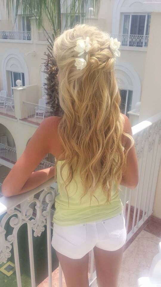 Beachy Waves Pinned Half Up Half Down Bridal Hair Clip In