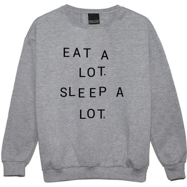 Eat a Lot Sleep a Lot Sweater Jumper Funny Fun Tumblr Hipster Swag... ($22) ❤ liked on Polyvore featuring tops, sweaters, sweatshirts, black, women's clothing, black jumper, hipster sweater, jumpers sweaters, gothic sweaters and retro sweaters