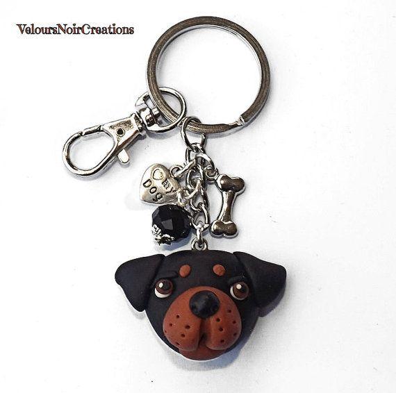 Keychains for men and women rottweiler dog polymer di velvetdressx