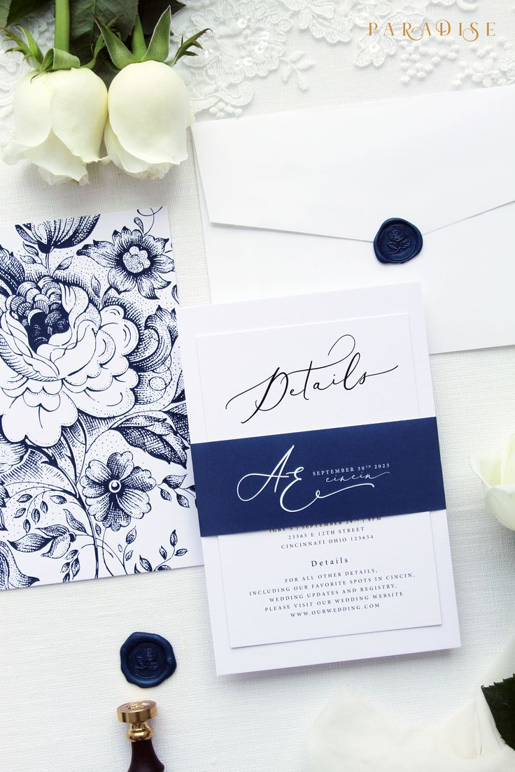 wedding invitation diy kits uk%0A Adlin Elegant Wedding Invitation Sets  Modern Invitation Kits  Wedding  Stationery  Navy Wax Seals