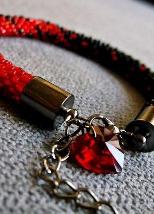 Kup mój przedmiot na #vintedpl http://www.vinted.pl/akcesoria/bizuteria/10219066-efektowna-czarno-czerwona-bransoletka-z-krysztalkiem-swarovskiego