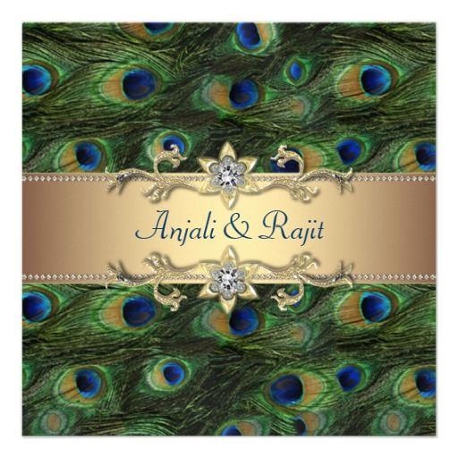 Emerald Green Gold Royal Indian Peacock Wedding Invitations