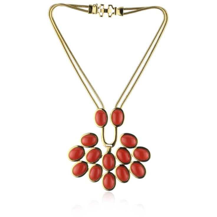 Trina Turk Snake Chain Cabochon Coral And Gold Plated Necklace: Trina Turk, Coral And Gold, Plates Necklace Lov, Gold Plates, Turk Snakes, Snakes Chains, Chains Cabochon, Cabochon Coral, Plates Necklaces