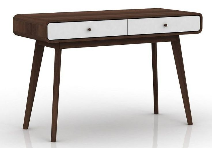 Carl+Skrivebord+med+folie+-+Valnød/hvid+-+Carl+skrivebordet+er+et+klassisk+og+elegant+møbel+til+kontoret+eller+værelset.+Skrivebordet+er+fremstillet+af+MDF+med+folie.+Foliet+giver+skrivebordet+et+valnødde+look.+Den+mørke+farve+giver+rummet+varme+og+personlighed.+Skrivebordet+indeholder+to+skuffer+med+hvid+folie.+De+hvide+skuffer+bryder+det+meget+mørke+look+og+er+en+fin+detalje+til+skrivebordet.+