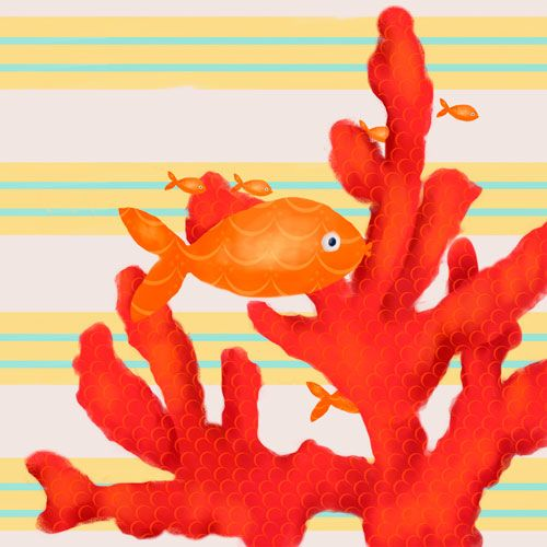 Red Coral and Little Fish by Oopsy daisy www.sweetretreatkids.com #sweetretreatkids #beachart #beachprint #oceanart #oceanprint #redcoralart #kidswallart #wallart #coralprint #seacoralart