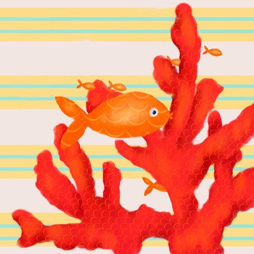 Red Coral and Little Fish by Oopsy daisy www.sweetretreatkids.com #sweetretreatkids #beachart #beachprint #oceanart #oceanprint #redcoralart #kidswallart #wallart #coralprint #seacoralart