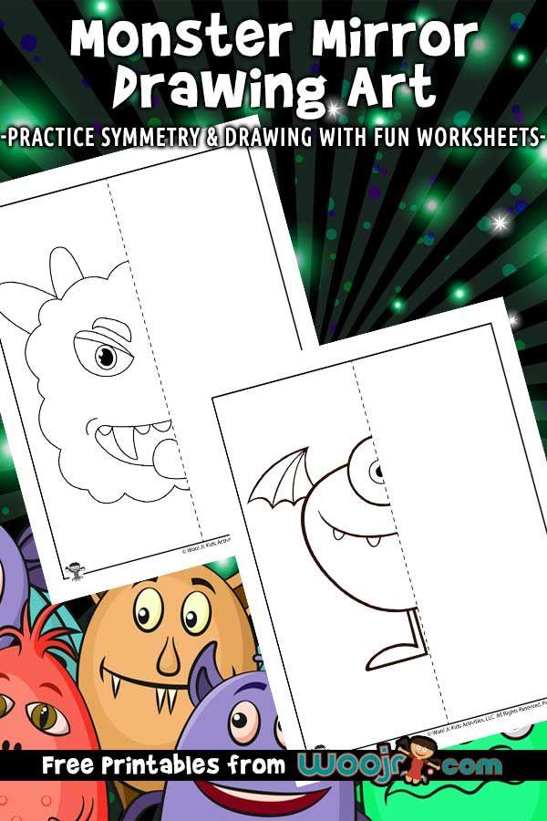 Monster Mirror Drawing Worksheets Woo Jr Kids Activities In 2020 Mirror Drawings Monster Activities Printables Free Kids